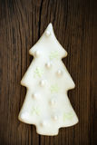 Christmas Tree Cookie on Wood IV royalty free stock photo