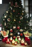 Christmas tree with cookies, cupcakes, balls, sweets, candy, ornaments stock photos