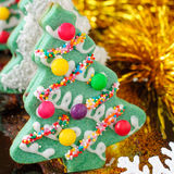 Christmas Tree Cookies. On the Festive Table Royalty Free Stock Image
