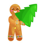 Christmas tree cookies gingerbread man decorated with icing dancing and having fun xmas sweet food vector illustration Royalty Free Stock Photos
