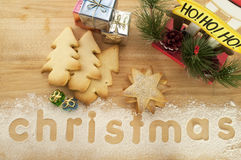 Christmas Tree cookies and Presents Royalty Free Stock Images