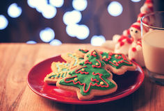 Christmas tree cookies in red plate Royalty Free Stock Image