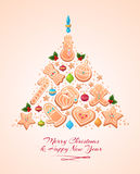 Christmas Tree Cookies . Vector illustration Royalty Free Stock Photography