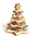 Christmas tree cookies. On a white background Royalty Free Stock Photo