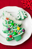 Christmas Tree Cookies. On a White Plate Royalty Free Stock Image
