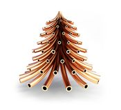 Christmas tree of copper pipes on a white background 3D illustration, 3D rendering vector illustration