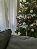 Christmas tree beside a couch royalty free stock image
