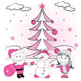 Christmas tree and Couple of lovers Royalty Free Stock Image
