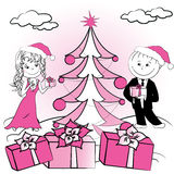 Christmas tree and Couple of lovers Stock Image