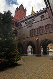 A Christmas tree in a courtyard of historic town-hall building, in Basel, Switzerland, November 29, 2017 royalty free stock photography