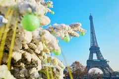 Christmas tree covered with snow near the Eiffel tower in Paris Stock Photos