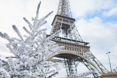 Christmas tree covered with snow near the Eiffel tower Stock Images
