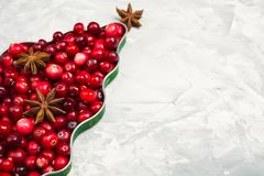 Christmas tree of cranberry and star anise over gray background. With copy space royalty free stock photography