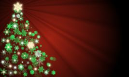 Christmas tree created from glowing green, yellow gold and white snowflakes with ray light shining from top. On fresh red background. For Christmas and new year royalty free illustration