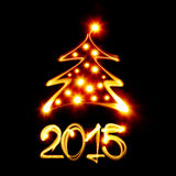 Christmas tree 2015. Christmas tree and 2015 created by light Royalty Free Stock Image