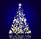 Christmas tree created with stars in blue Stock Photo