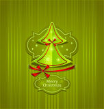 Christmas Tree Creative Post Card. Christmas Tree with bows ribbons snowflakes stars on green background Creative Post Card royalty free illustration