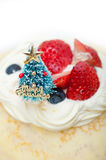 Christmas tree on crepe pancake cake Stock Photos