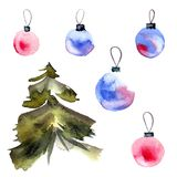 Christmas tree and cristmas balls. Christmas tree and crristmass balls. Watercolor illustration. Elements for greeting card design Royalty Free Stock Image