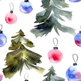 Christmas tree and cristmas balls. Christmas tree and crristmass balls. Watercolor illustration. Seamless pattern Royalty Free Stock Images