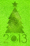 Christmas tree crystal green background Stock Photo