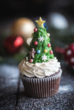 Christmas tree cup cake Stock Images