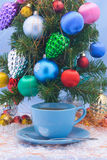 Christmas tree- cup of tea royalty free stock image