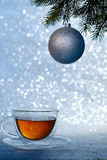 Christmas Tree and Cup of Tea Stock Images