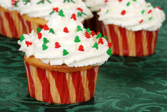 Christmas tree cupcake Royalty Free Stock Images