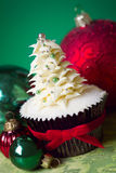 Christmas tree cupcake Royalty Free Stock Image