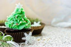 Christmas tree cupcake. Homemade chocolate cupcake brownie shaped beautiful Christmas tree stock photography