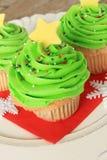 Christmas tree cupcake stock photo