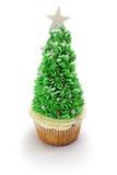 Christmas tree cupcake. Homemade christmas tree cupcake on white background royalty free stock photo