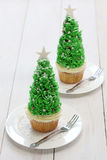 Christmas tree cupcake Royalty Free Stock Photography