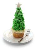 Christmas tree cupcake. Homemade christmas tree cupcake on white background stock images