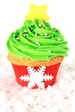 Christmas tree cupcake. In red and green stock images