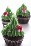 Christmas tree cupcake on white background Royalty Free Stock Photography