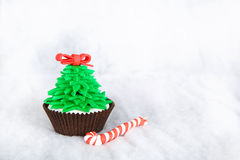 Christmas tree cupcake with white fondant frosting Royalty Free Stock Photos