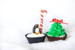 Christmas tree cupcake with white fondant frosting Stock Photos