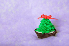 Christmas tree cupcake with white fondant frosting Stock Photo