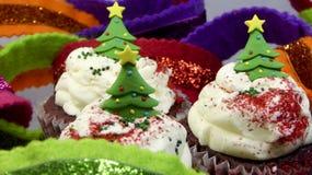 Christmas tree cupcakes Royalty Free Stock Image