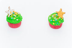 Christmas tree cupcakes Stock Photography
