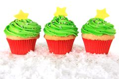 Christmas tree cupcakes Stock Photos
