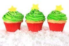 Christmas tree cupcakes stock photos