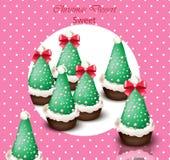 Christmas tree cupcakes Vector card. Retro dotted backgrounds. Christmas tree cupcakes Vector card. Retro dotted background Stock Photos