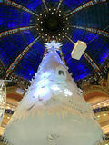 Christmas tree and cupola. Christmas tree and Fantasy decoration under the cupola of the big store Les Galeries Lafayette Paris France stock image