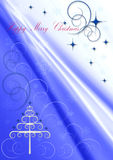 Christmas Tree  with curlicues and snowflakes against the background with violet rays Royalty Free Stock Image