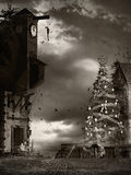 Christmas tree in the cursed village Stock Photo