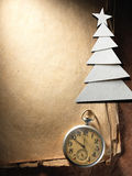 Christmas tree cut out from paper and compass Royalty Free Stock Photo