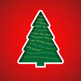 Christmas tree. Cut out from paper with inscriptions Merry Christmas Stock Images